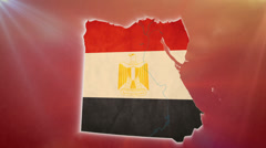 War in Egypt, Egyptian map with flag, crowd, guns background Stock Footage