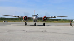 Douglas A/B-26 Invader turning to runway Stock Footage