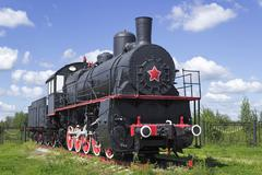 Typical russian locomotive twenties of the last century Stock Photos