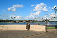 the bridge over the river volga - stock photo