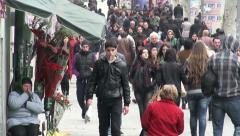 Main street in Tbilisi, Georgia, people walking, pedestrians, Caucasus city Stock Footage