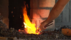 blacksmith forges a horseshoe, slow motion 2 - stock footage