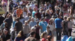 Crowd at country fair, Real time, soft focus, long shot.  Summer afternoon Stock Footage