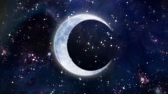 half moon in the space large size - stock footage