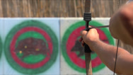 Stock Video Footage of man shoots a bow at a target, Slow Motion 4