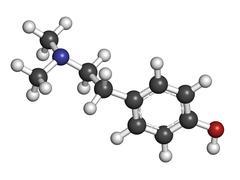 hordenine (dimethyltyramine) stimulant molecule, chemical structure. - stock illustration
