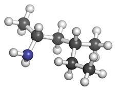 methylhexanamine (1,3-dimethylamylamine, dmaa) stimulant drug, chemical struc - stock illustration