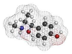 oxilofrine (methylsynephrine, oxyephrine) stimulant drug, chemical structure. - stock illustration