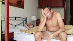 Couple having problems in bed HD Stock Footage