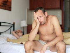 Couple having problems in bed NTSC Stock Footage
