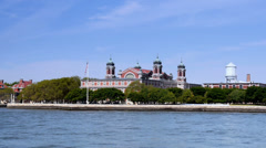 View of Ellis Island from New York Harbor Stock Footage