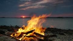Bonfire at Sunset Near Boston Stock Footage