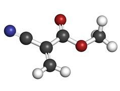 Methyl cyanoacrylate molecule, the main component of cyanoacrylate glues (ins Stock Illustration