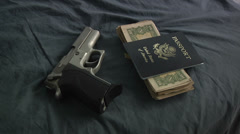 9mm Hand Gun Cash Passport Grabbed Haste Travel Getaway Run Travel Trip Stock Footage