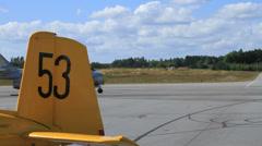Swedish barrel jet taxis Stock Footage