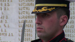 Guard at Heroes Square, Tbilisi Stock Footage