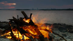Bonfire at Sunset Closeup Stock Footage