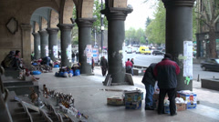Street market in Tbilisi, capital city of Georgia, South Caucasus Stock Footage