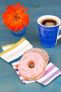 breakfast with black coffee and two donuts - stock photo