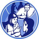 Stock Illustration of office worker businesswoman discussion woodcut circle