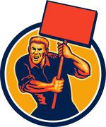 Protester activist union worker placard sign retro Stock Illustration