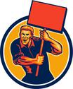 Stock Illustration of protester activist union worker placard sign retro