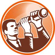 Businessman holding looking telescope woodcut Stock Illustration