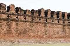 Ancient fortress wall of ayuttaya territory Stock Photos
