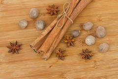 pile of cinnamon,  anise  and nutmeg - stock photo