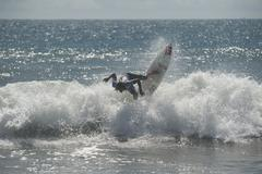 man surfing the wave surf costa rica - stock photo
