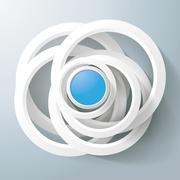 white rings blue circles magic centre - stock illustration
