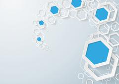 white and blue hexagons dust - stock illustration