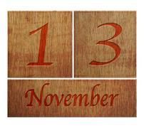 Stock Illustration of wooden calendar november 13.