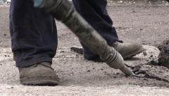 Road construction, jackhammer, Tbilisi Stock Footage