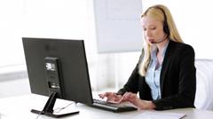 Attractive helpline operator in office Stock Footage