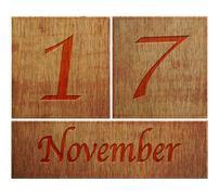 Stock Illustration of wooden calendar november 17.