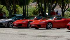 Red & silver ferraris Stock Footage