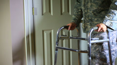 Soldier disability walker handicapped Stock Footage