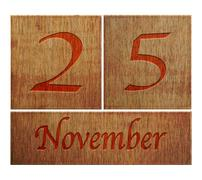 wooden calendar november 25. - stock illustration