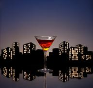 metropolis manhattan cocktail - stock illustration