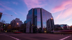 Corporate Building Timelapse at Dusk NTSC 196GYMV Stock Footage