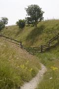 Footpath and gate. wiltshire. england Stock Photos