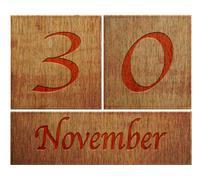wooden calendar november 30. - stock illustration