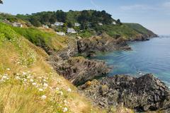 View from South West Coast path near Polperro - stock photo