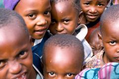 Kids facing the camera  Naerobi Kenia 03 Stock Photos