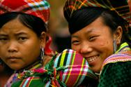 Stock Photo of woman laughign Can Cao Market Vietnam 21