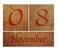 Stock Illustration of wooden calendar november 8.
