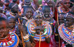 masai girls facing the camera during a wedding Kenia - stock photo