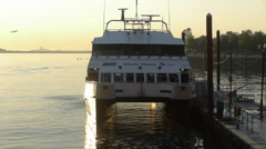 Whale watch boat with jet behind it Boston Stock Footage