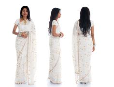 Indian female in traditional saree dress in various position full body Stock Photos
